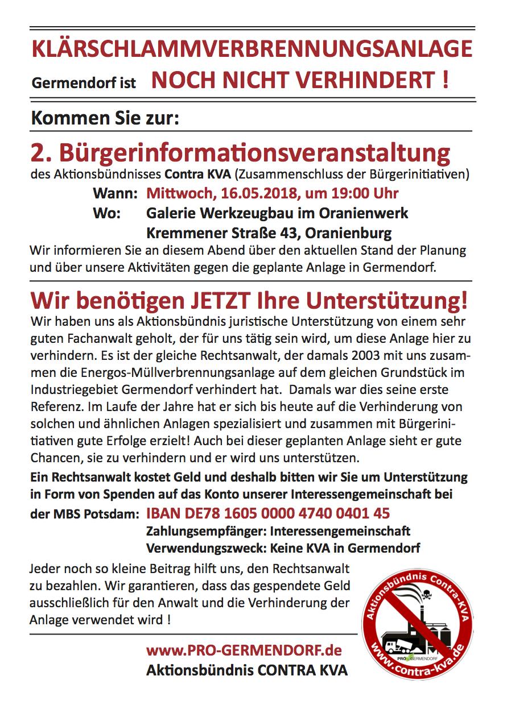 2. Bürgerinformationsverantstaltung des Aktionsbündnisses Contra KVA