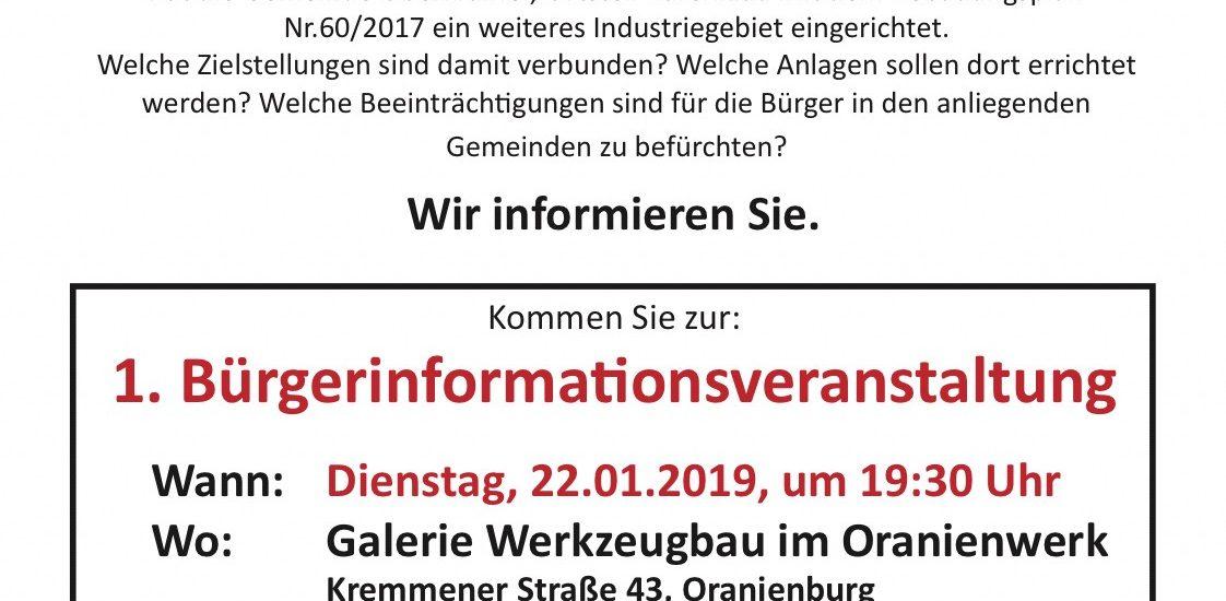 1. Bürgerinformationsveranstaltung des neu gegründeten, gemeinnützigen Vereins PRO-Umwelt e.V. Oberhavel